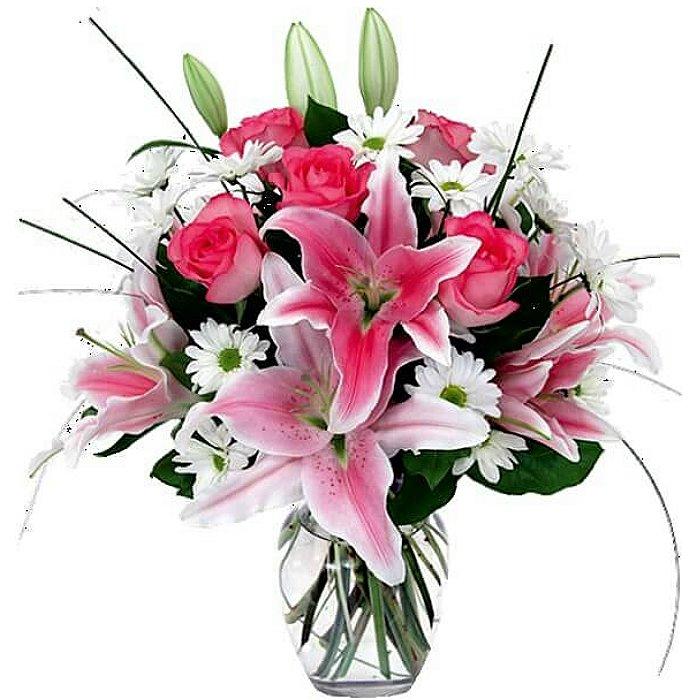 Цветной букет из лилии и хризантемы, цветы бумаги цветы