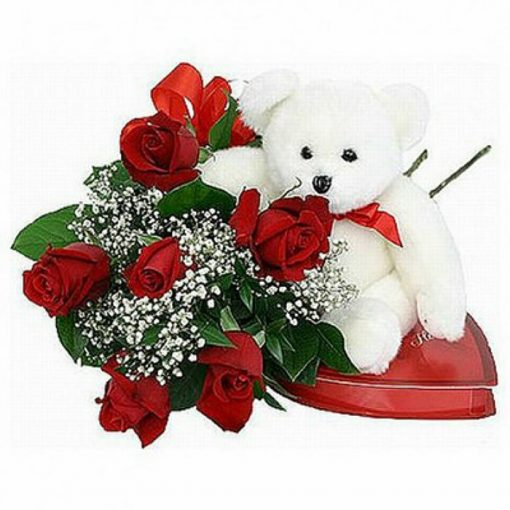 Roses bouquet plus tendy-bear and chocolates 0152