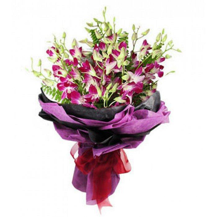 Ανθοδέσμη με φρέσκα λουλούδια Ορχιδέες 0702