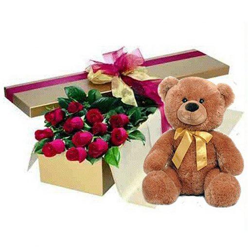 Τριαντάφυλλα σε κουτί με αρκουδάκι 00123