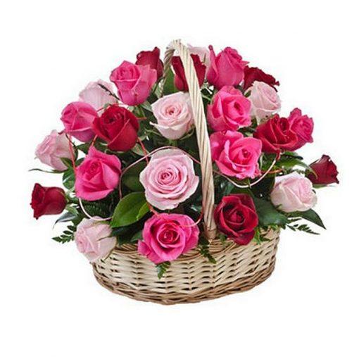 Roses in basket 012