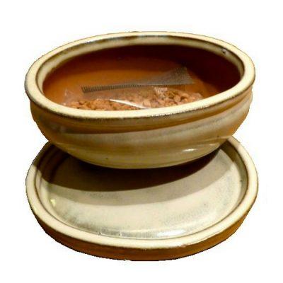 12474-41B Κεραμικό σετ (γλάστρα - πιάτο) Bonsai Koban (Οβάλ)