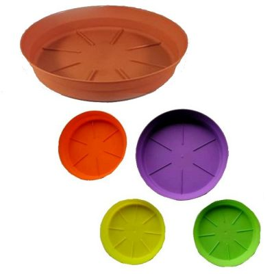 Plastic draining plates for flower pots