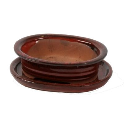 A3150003 Bonsai ceramic set (pot – plate) Koban (Oval)